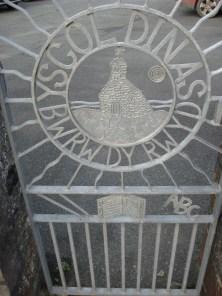 School gate, by J E Thomas, showing the Church at Cwm-yr-Eglwys