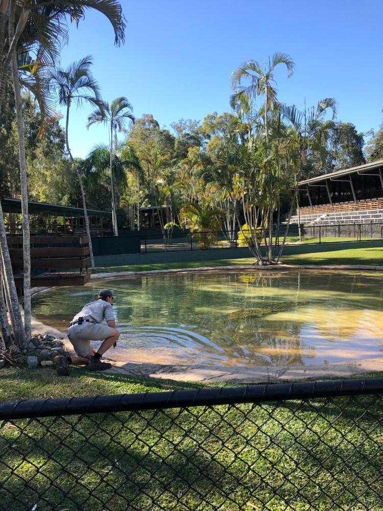 Man by lake with Crocodile