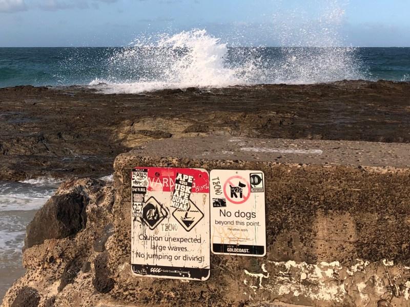 Warning signs at beach