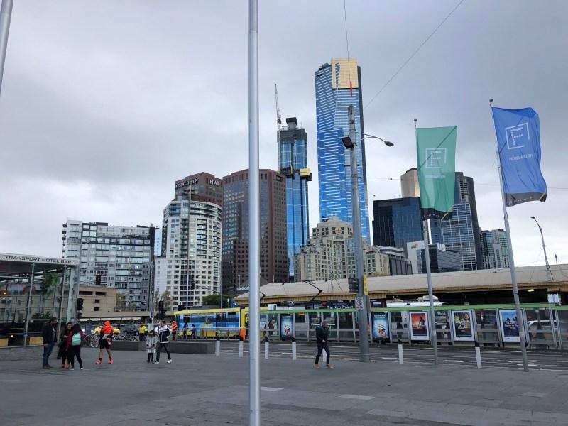 Tram station in Melbourne