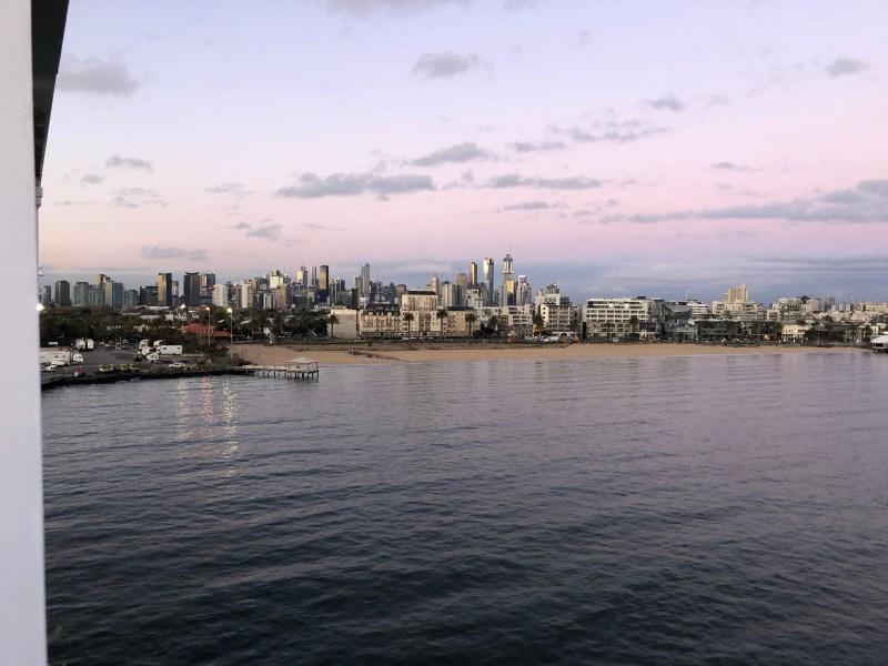 City buildings with ocean