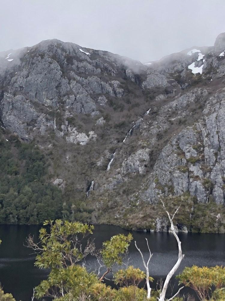 waterfall down mountain