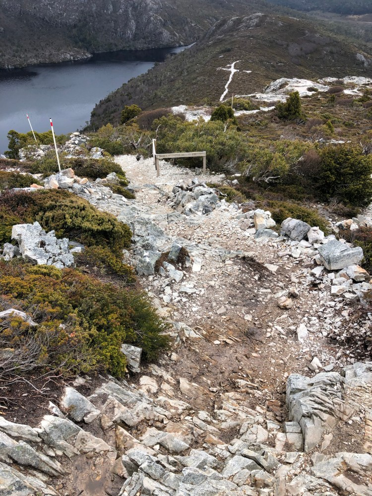 view of hiking trails on a mountain