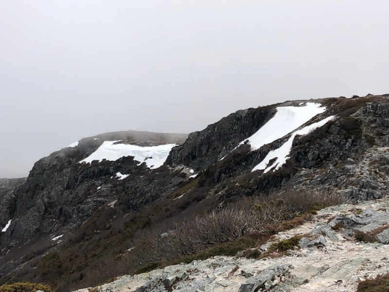 snow on mountain peaks