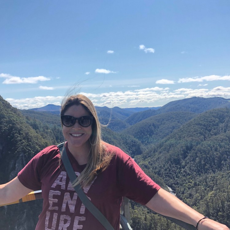 Woman at mountain lookout