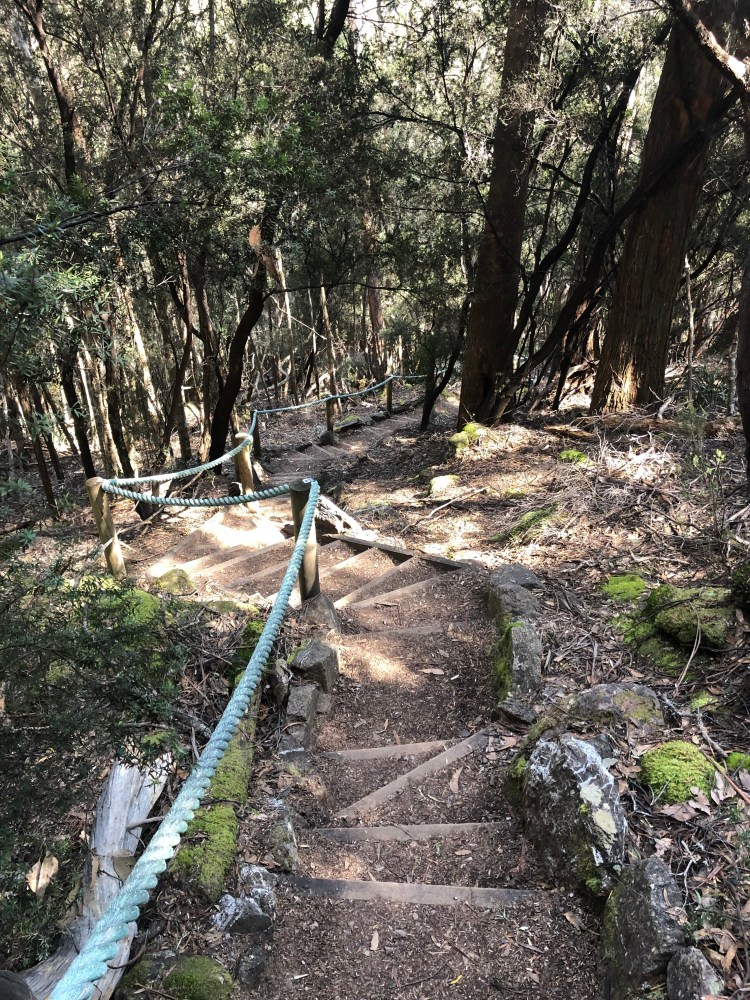 Stairs down mountain