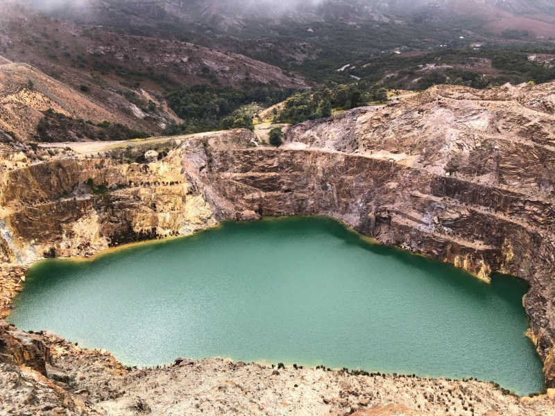 mining quarry with water