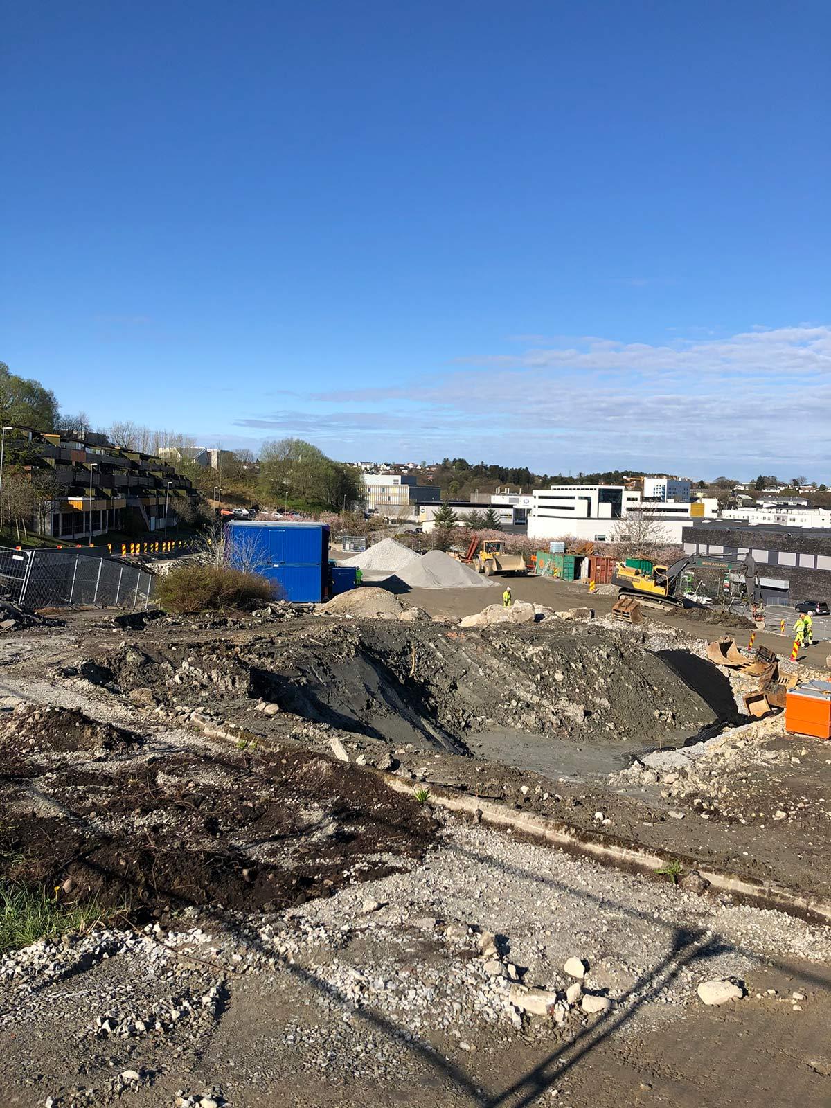 Bilde fra byggeplass mai 2020
