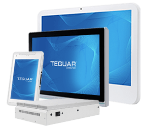 Four Teguar medical devices including a medical tablet, a medical box pc and two medical monitors