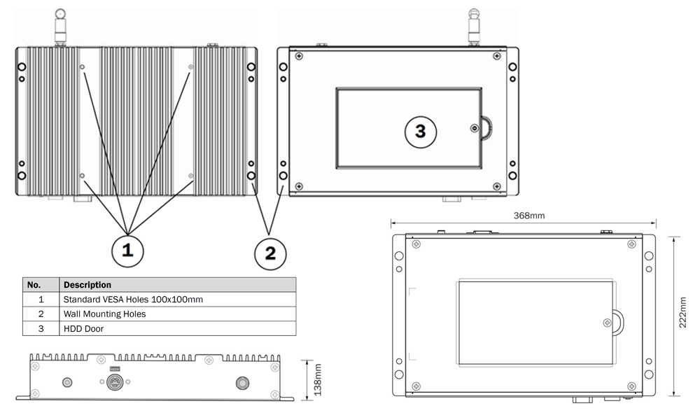 TB-4040- Fanless PC  Technical Drawing