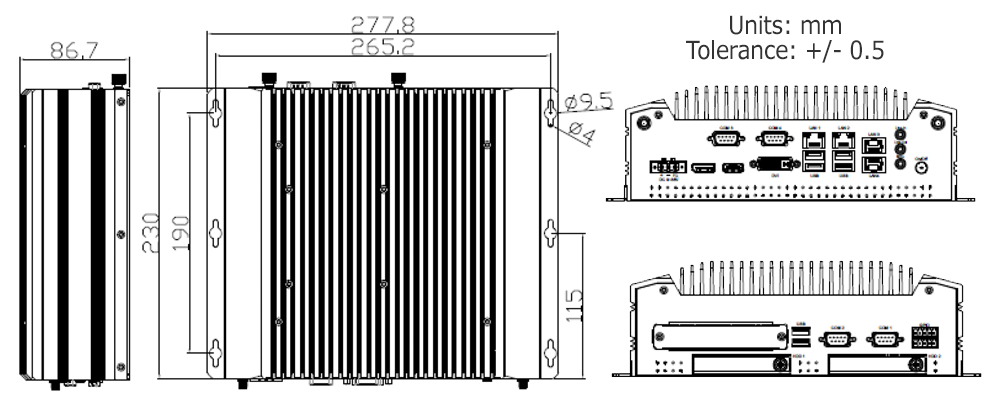 Fanless PC TB-5045 Drawing