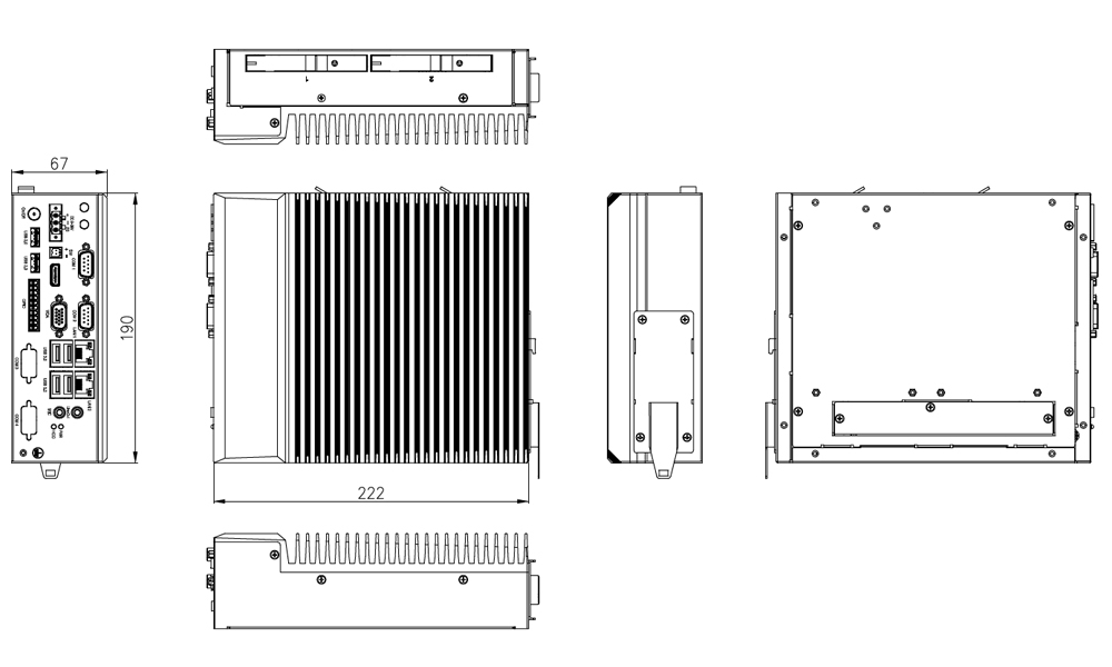 Machine Vision Box PC Din Rail Tech Drawing