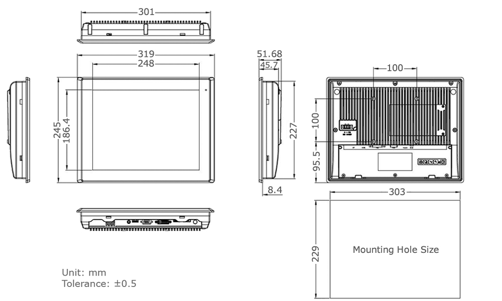 TD-45-12 Industrial Monitor Technical Drawing