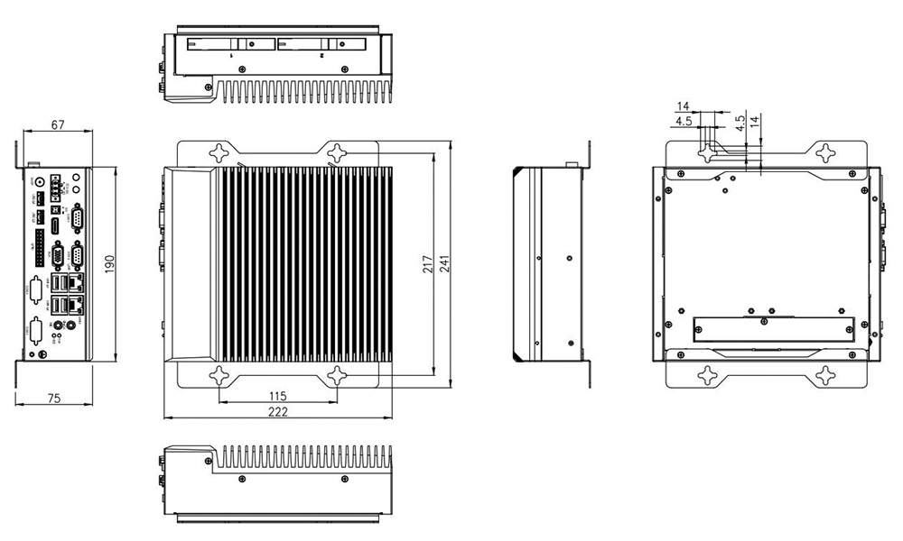 TB-5545-MVS Box PC Wall Mount Technical Drawing