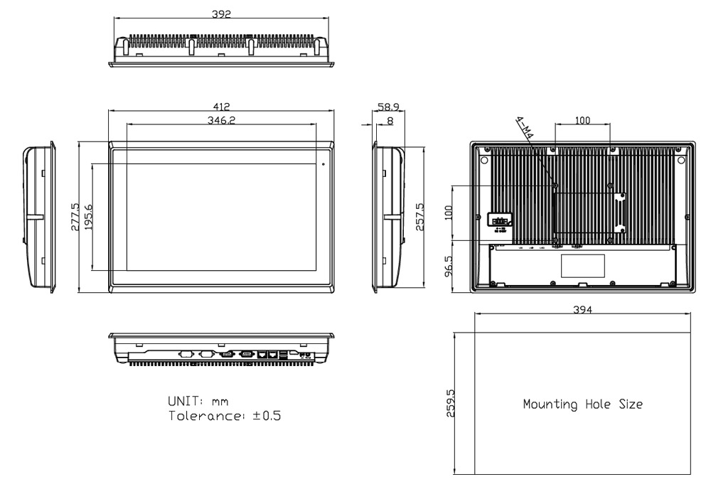 16-inch Industrial Computer Dimensions