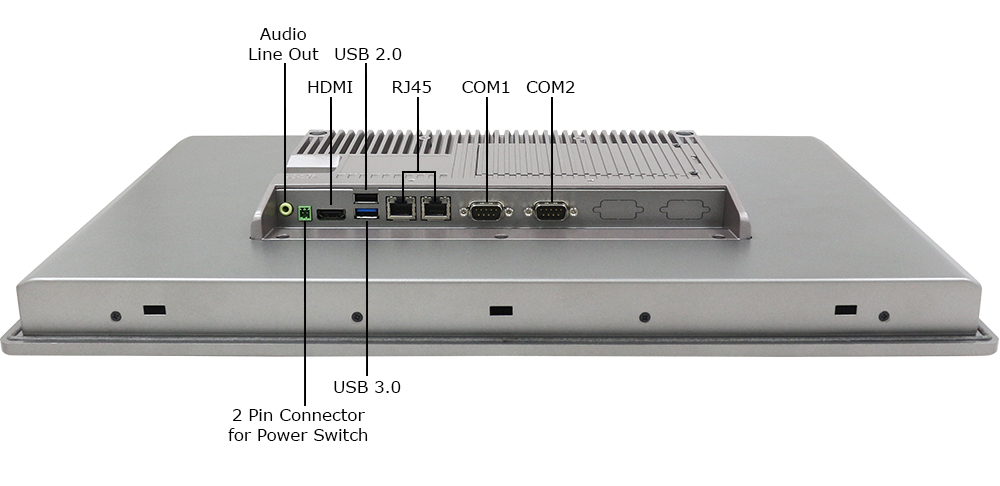 Teguar 22-inch Industrial Computer Inputs and Outputs Labeled