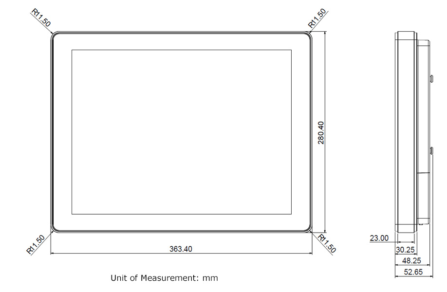 TP-4040-15R fanless touchscreen pc drawings