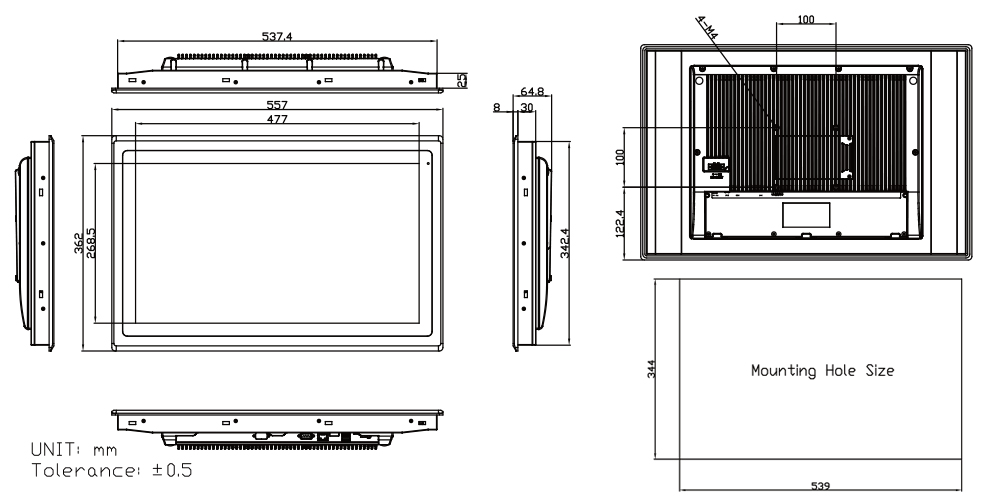 Touch Screen Panel TP-A945-22 Technical Drawings