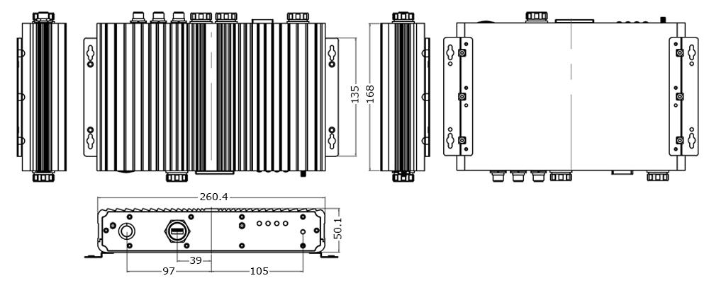 IP65 Box Computer Technical Drawing