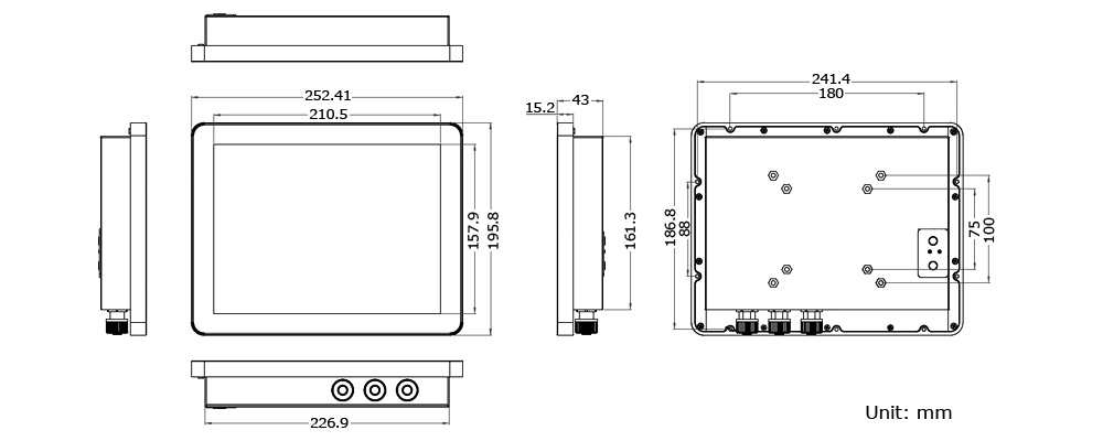 IP65 PC Technical Drawing