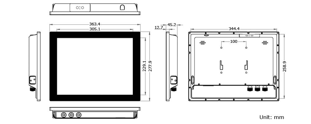 Waterproof Panel PC Technical Drawing