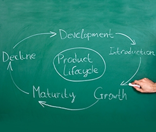 Chalkboard displaying product lifestyle: development, introduction, growth, maturity, and decline