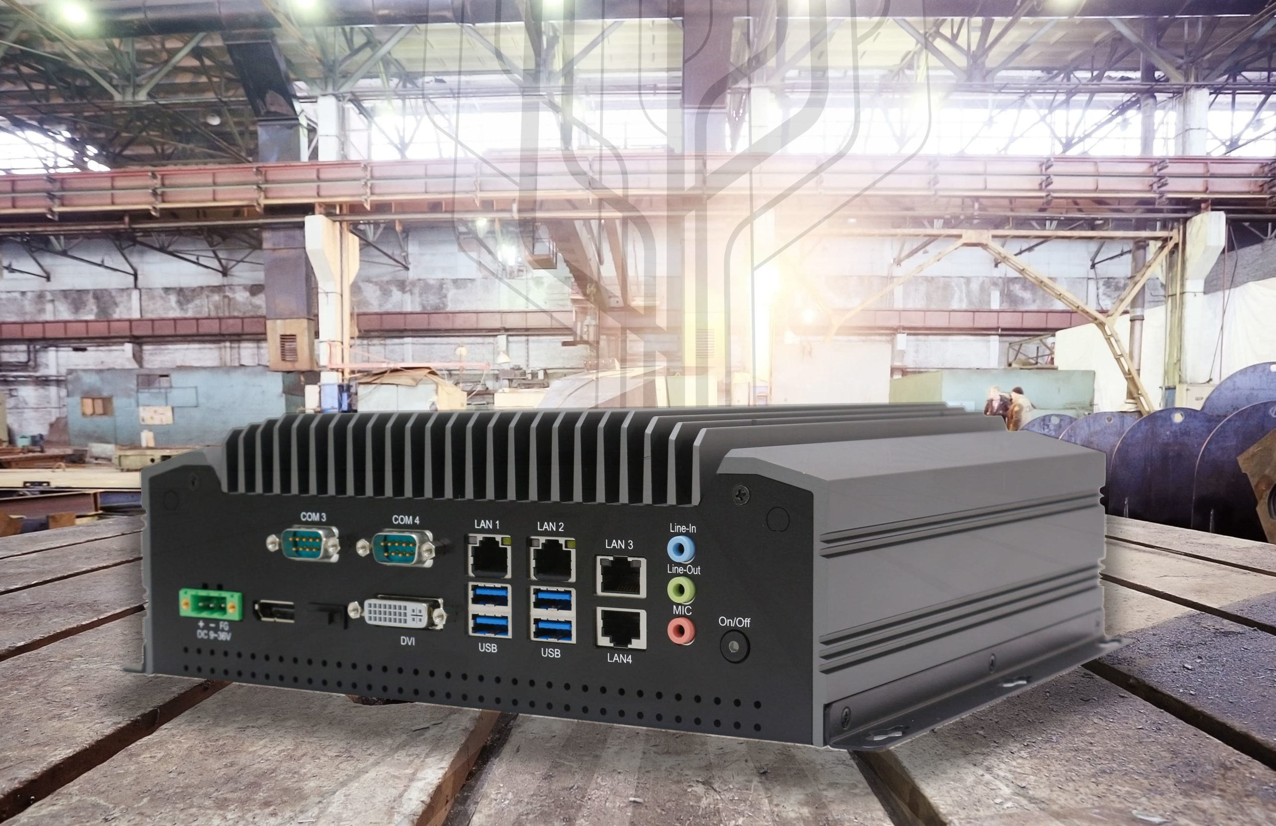 Teguar fanless box PC on display in a factory