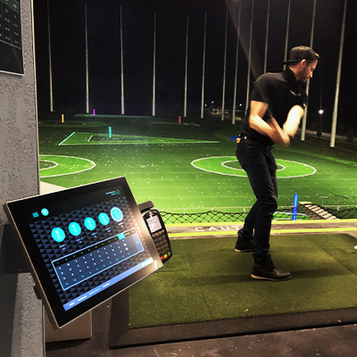 Rugged kiosk tablet used at a driving range