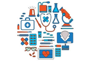 Medical tools and equipment arranged in a circle