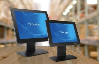 Two sizes of the Teguar TP-3485 series industrial all-in-one panel pc