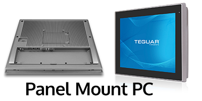 Front and back views of Teguar panel mount PC