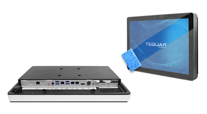 Teguar TM-5040 computer inputs and outputs plus a sponge cleaning the touchscreen