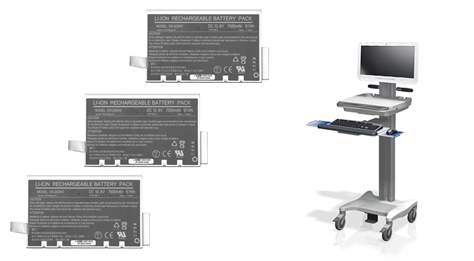 Medical cart computer and three hot swappable batteries