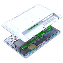 Back panel interior and exterior view of an all-in-one computer