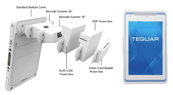 Teguar TM-4391 medical tablet expansion modules & blue housing