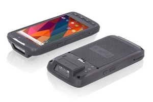 Front and back views of the Teguar TRH-A5380-05 rugged handheld device