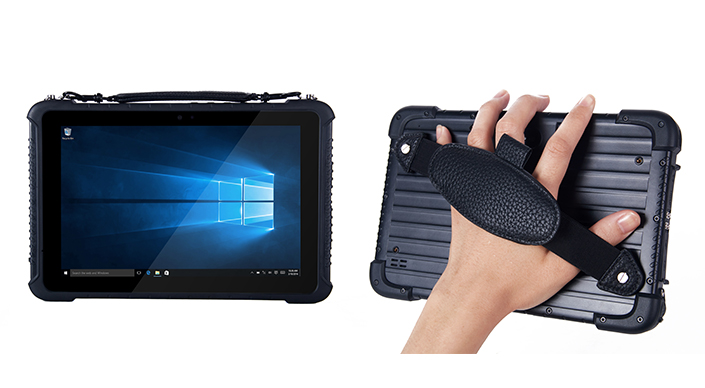 Front and back views of a TRT-5180 rugged tablet with a handstrap
