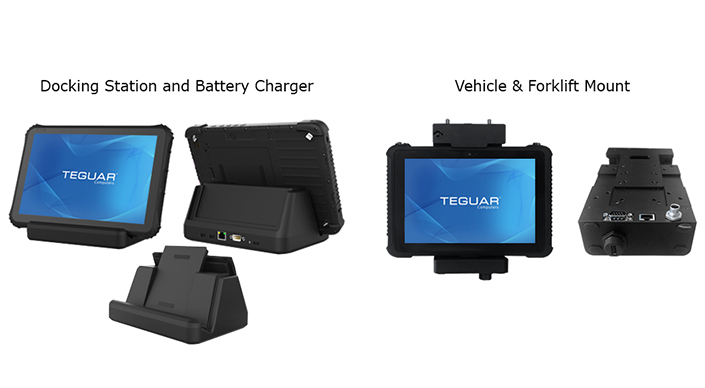 Rugged tablet accessories, including docking station, battery charger, and vehicle & forklift mount