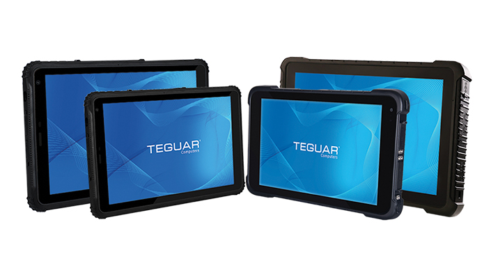 Four sizes of the Teguar TRT-A5380 series of rugged tablets