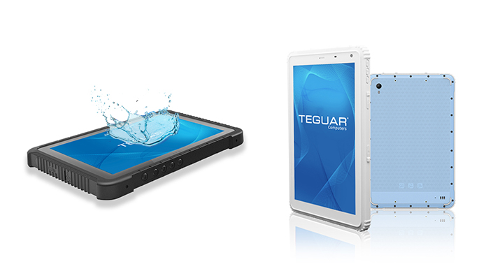 Teguar TRT-A5380 shown with white rugged housing and a waterproof screen
