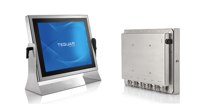 Front and back views of the Teguar TS-4010 stainless steel computer and mount