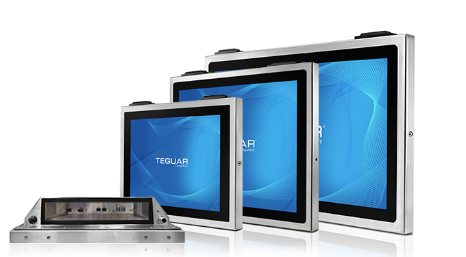 Three sizes and a bottom view of Teguar TSC-4010 series stainless steel computers