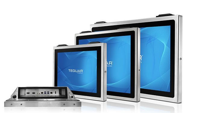 Three sizes and a bottom view of Teguar TSC series stainless steel computers