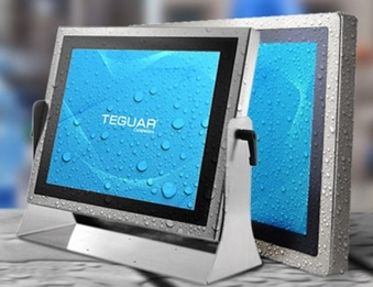 Two Teguar waterproof pc panels covered in water