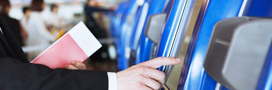 Customer uses a public kiosk computer terminal