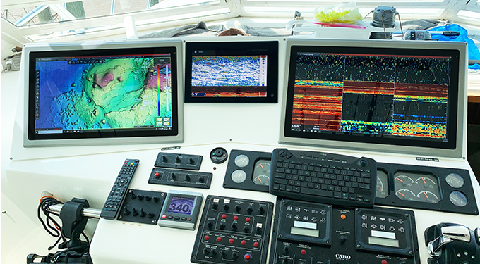 Workstation with a wide assortment of industrial displays