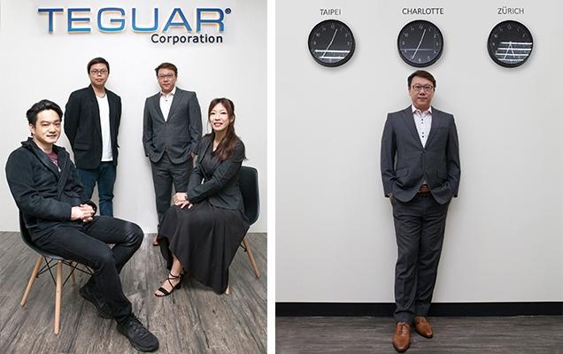 Teguar corporate team on left, Business Development Manager Derek Tseng on right