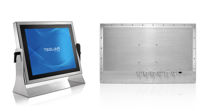 Front and back views of the Teguar TS-5010 stainless steel computer