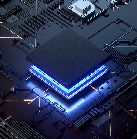 Backlit computer chip on a board