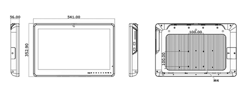 Dimensions of a rugged tablet